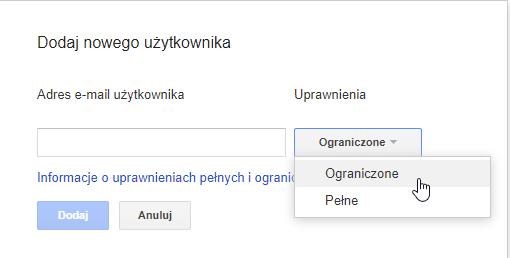 Nadawanie uprawnień użytkownikom do Google Search Console